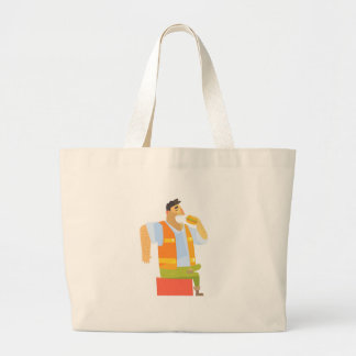 Builder Eating Lunch On Construction Site Large Tote Bag