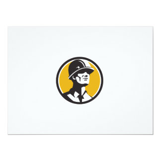 Builder Hardhat Looking Forward Circle Retro Card