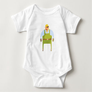 Builder In Hard Hat On Construction Site Baby Bodysuit