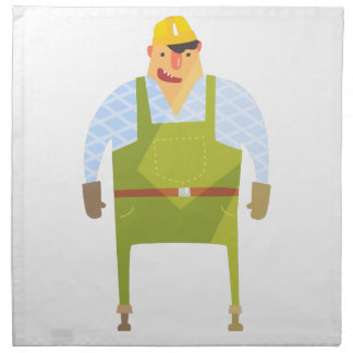 Builder In Hard Hat On Construction Site Napkin