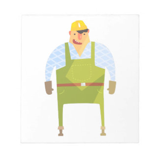 Builder In Hard Hat On Construction Site Notepad