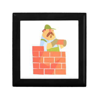 Builder Laying A Brick Wall On Construction Site Gift Box