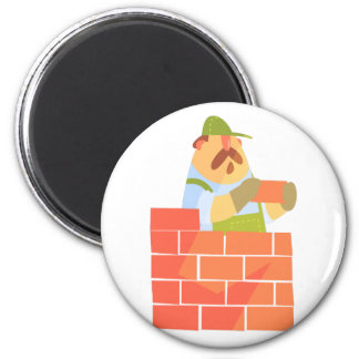 Builder Laying A Brick Wall On Construction Site Magnet