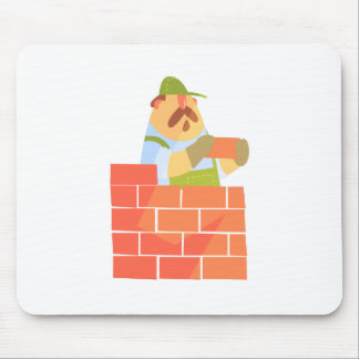 Builder Laying A Brick Wall On Construction Site Mouse Pad