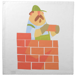 Builder Laying A Brick Wall On Construction Site Napkin