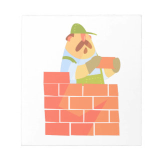 Builder Laying A Brick Wall On Construction Site Notepad