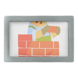 Builder Laying A Brick Wall On Construction Site Rectangular Belt Buckles