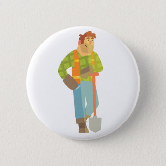 Builder Leaning On Spade On Construction Site 6 Cm Round Badge