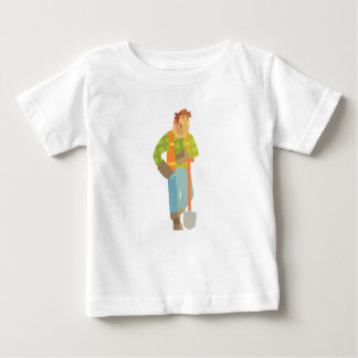 Builder Leaning On Spade On Construction Site Baby T-Shirt