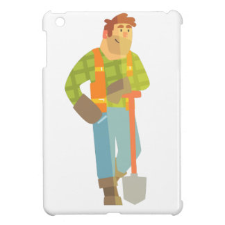 Builder Leaning On Spade On Construction Site Cover For The iPad Mini