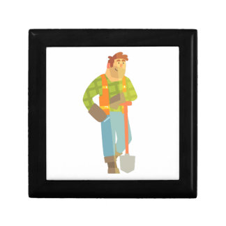 Builder Leaning On Spade On Construction Site Gift Box