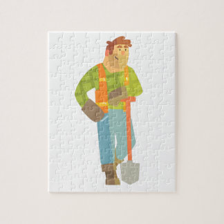 Builder Leaning On Spade On Construction Site Jigsaw Puzzle