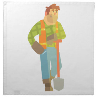 Builder Leaning On Spade On Construction Site Napkin