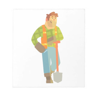 Builder Leaning On Spade On Construction Site Notepad