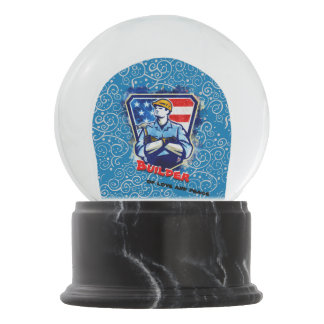 Builder of love and peace snow globe