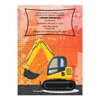 Builder s Backhoe Invitation