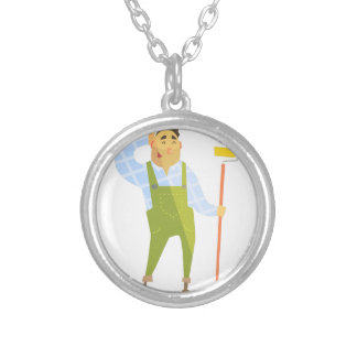 Builder Scratching Head On Construction Site Silver Plated Necklace
