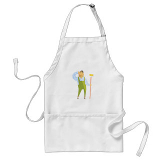 Builder Scratching Head On Construction Site Standard Apron
