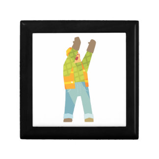 Builder Signaling On Construction Site Gift Box