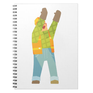 Builder Signaling On Construction Site Notebook