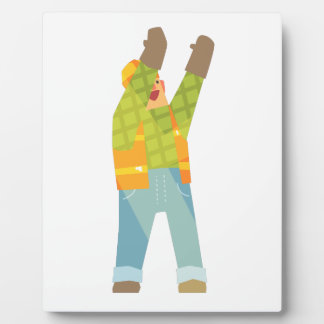 Builder Signaling On Construction Site Plaque