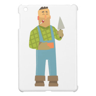 Builder With Brick And Trowel On Construction Site Cover For The iPad Mini
