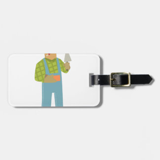 Builder With Brick And Trowel On Construction Site Luggage Tag