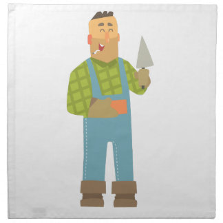 Builder With Brick And Trowel On Construction Site Napkin