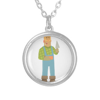 Builder With Brick And Trowel On Construction Site Silver Plated Necklace