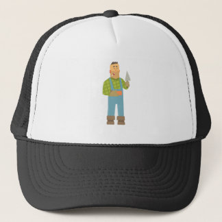Builder With Brick And Trowel On Construction Site Trucker Hat