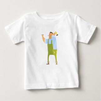 Builder With Hammer And Nails On Construction Site Baby T-Shirt