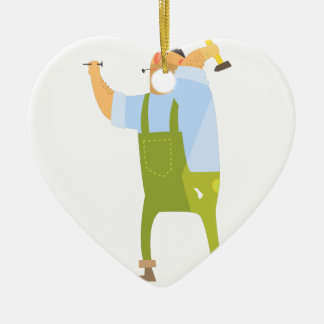 Builder With Hammer And Nails On Construction Site Ceramic Ornament