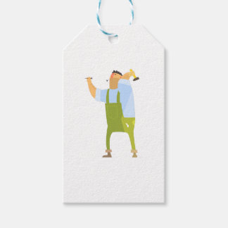 Builder With Hammer And Nails On Construction Site Gift Tags