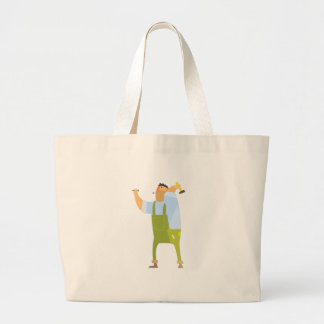 Builder With Hammer And Nails On Construction Site Large Tote Bag