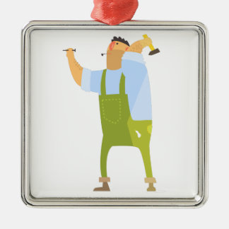 Builder With Hammer And Nails On Construction Site Metal Ornament