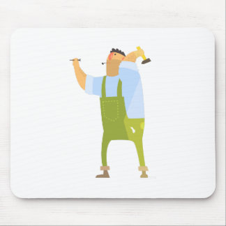 Builder With Hammer And Nails On Construction Site Mouse Pad