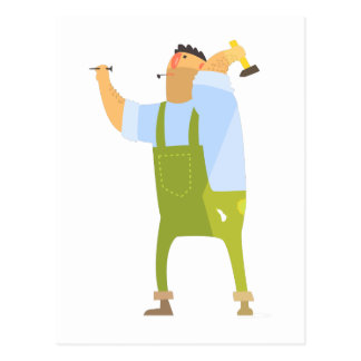 Builder With Hammer And Nails On Construction Site Postcard