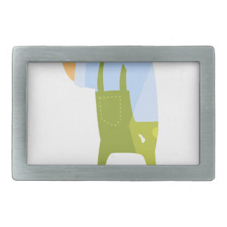 Builder With Hammer And Nails On Construction Site Rectangular Belt Buckle