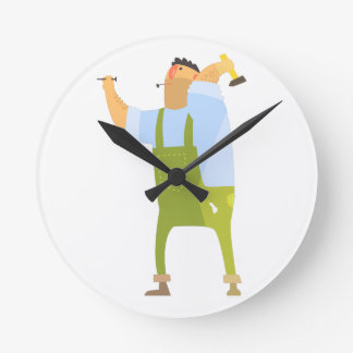 Builder With Hammer And Nails On Construction Site Round Clock