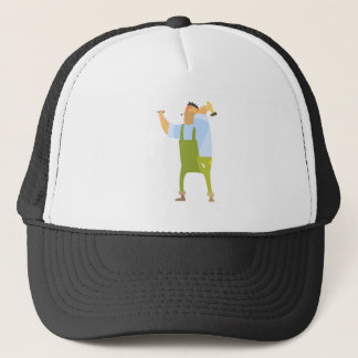 Builder With Hammer And Nails On Construction Site Trucker Hat