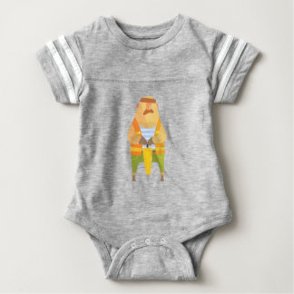 Builder With Jackhammer On Construction Site Baby Bodysuit