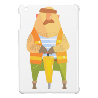 Builder With Jackhammer On Construction Site iPad Mini Covers