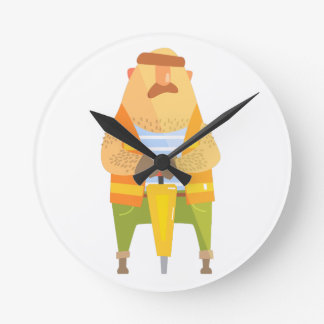 Builder With Jackhammer On Construction Site Round Clock