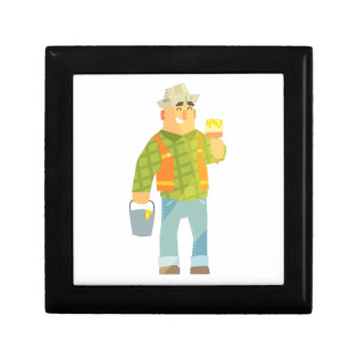Builder With Paintbrush And Bucket On Construction Gift Box