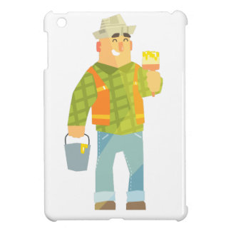 Builder With Paintbrush And Bucket On Construction iPad Mini Cases