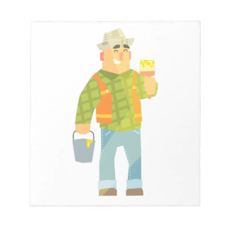 Builder With Paintbrush And Bucket On Construction Notepad