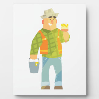 Builder With Paintbrush And Bucket On Construction Plaque