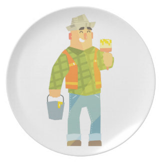 Builder With Paintbrush And Bucket On Construction Plate