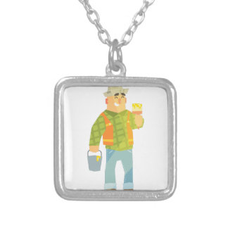 Builder With Paintbrush And Bucket On Construction Silver Plated Necklace