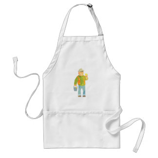 Builder With Paintbrush And Bucket On Construction Standard Apron